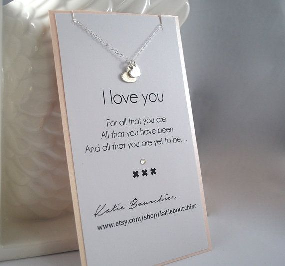 Double Heart I Love You 925 Sterling Silver Necklace Meaningful Friend Wife Gift Idea