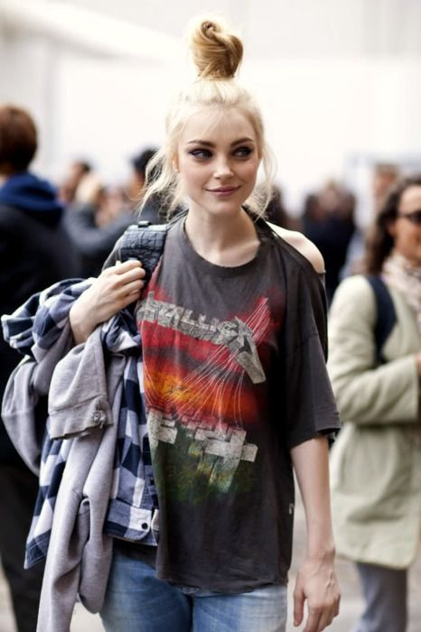 Blond hair with dark tee