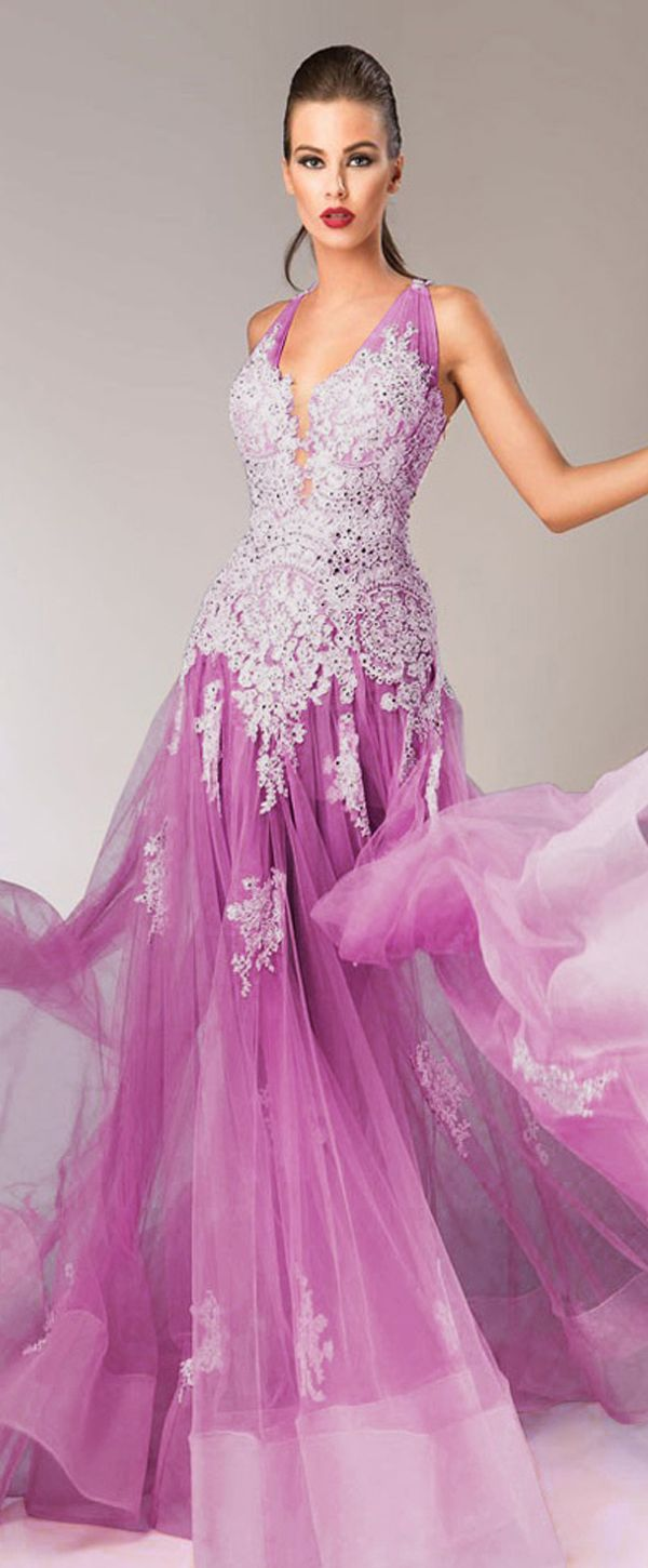 Charming Tulle & Satin V-neck A-line Prom Dresses With Beaded Lace ...