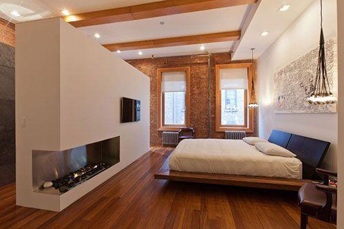Grote loft slaapkamer met open badkamer | Interieur inrichting ...