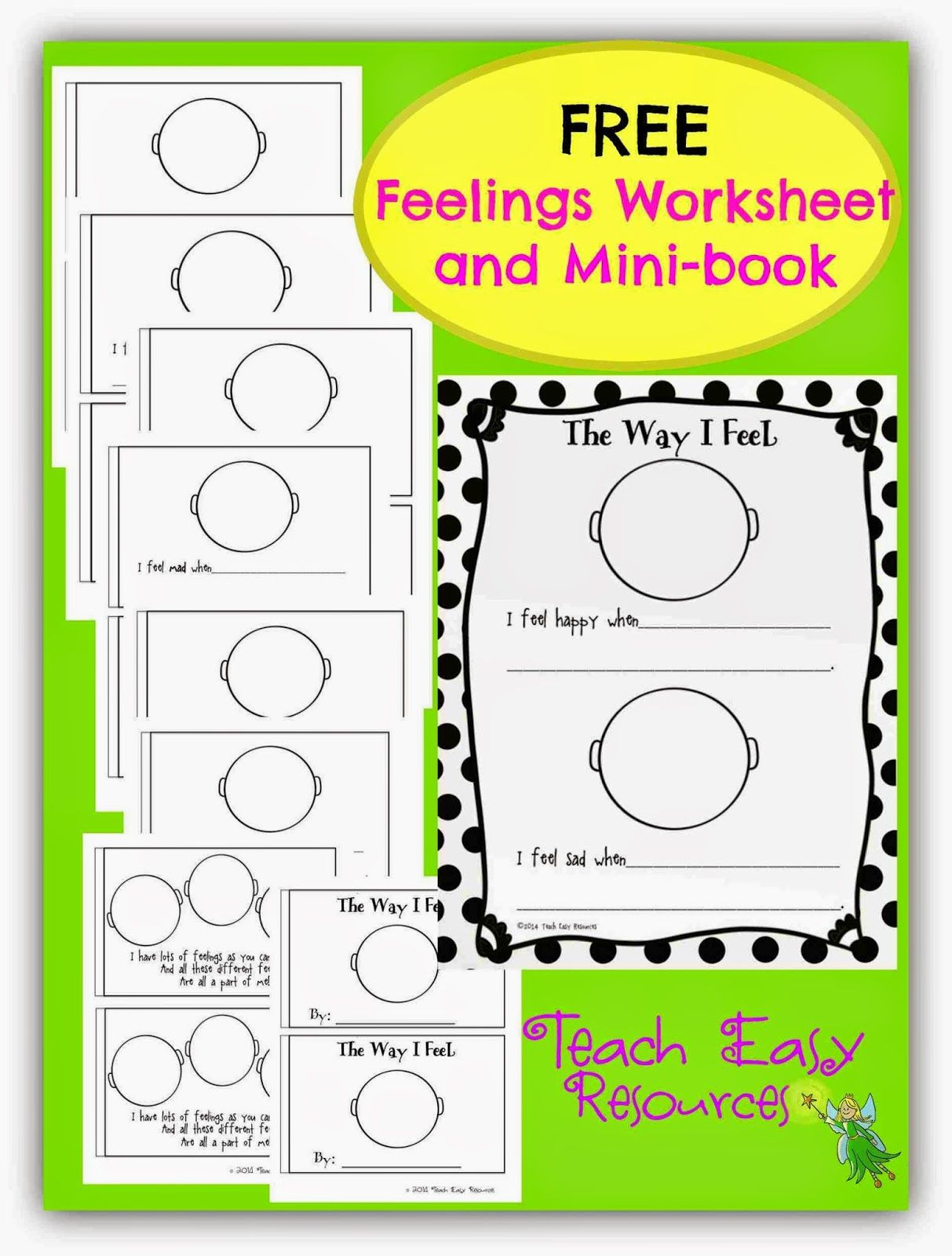 Feelings Worksheet And Mini Book For Pre K To 1 In
