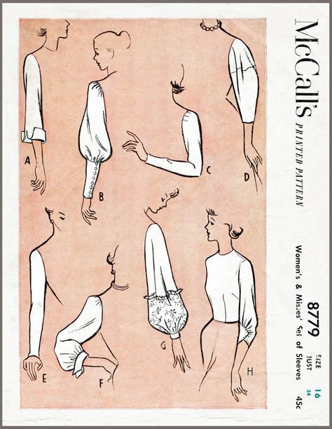 Vintage Sewing Pattern 1950s 50s sleeve set 8 styles bust 34 b34 ...
