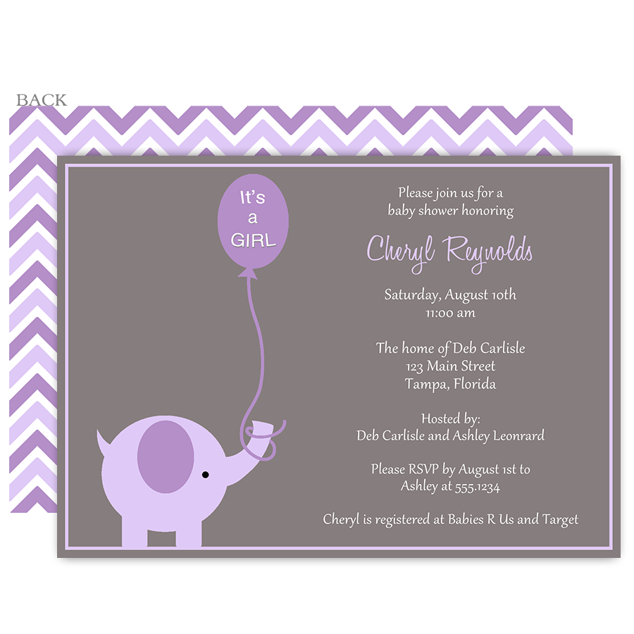 Elephant balloon purple baby shower invitation pinterest gray purple grey baby shower invitations with elephants so cute invite guests to your girl baby shower with this invitation featuring an adorable purple filmwisefo