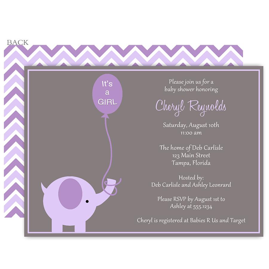 Elephant Balloon Purple Baby Shower Invitation Baby Shower