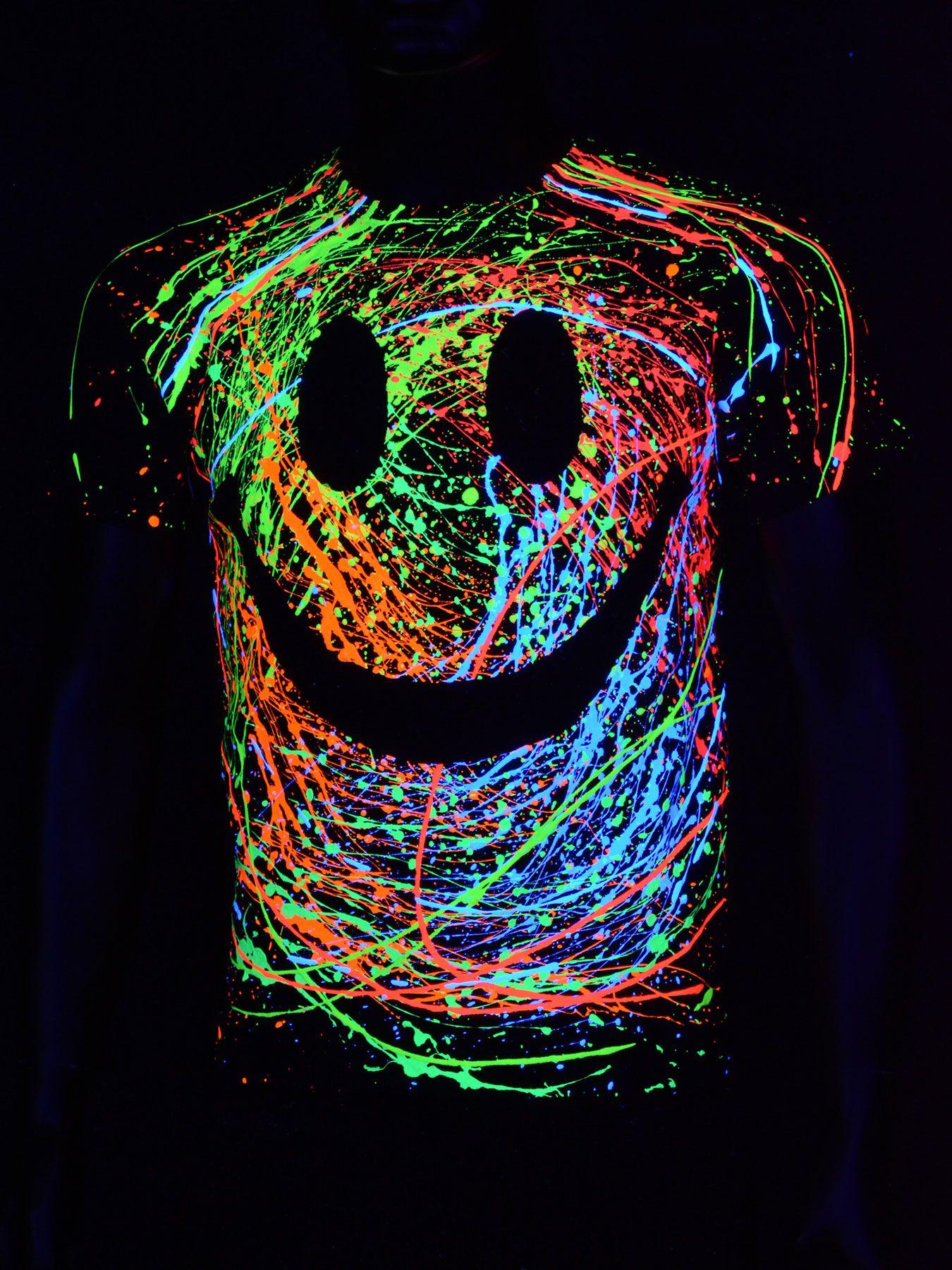 Schwarzlicht T Shirt Neon Grin Unisex Black Blacklight Schwarzlicht Neon Party Psy Clothing Couchuk Glow Party Outfit Schwarzlicht Schwarzlicht Party