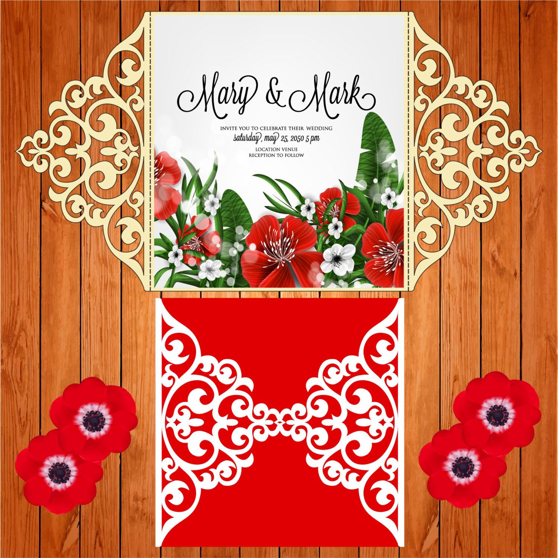 Invitation of the wedding card template lace folds (studio V3, svg ...