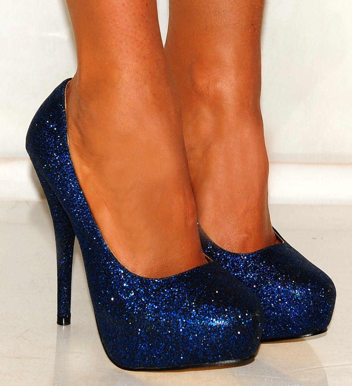 Bright Blue Glitter Court shoes Platforms High Heels ...