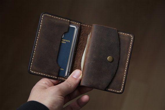 Leder Portemonnaie Herren Geldbörse Brieftasche braun mit