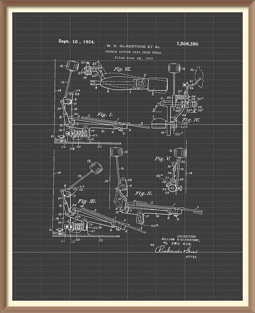 Vintage bass drum pedal patent print 1924 set on a vintage grey vintage bass drum pedal patent print 1924 set on a vintage grey blueprint background instant malvernweather Image collections