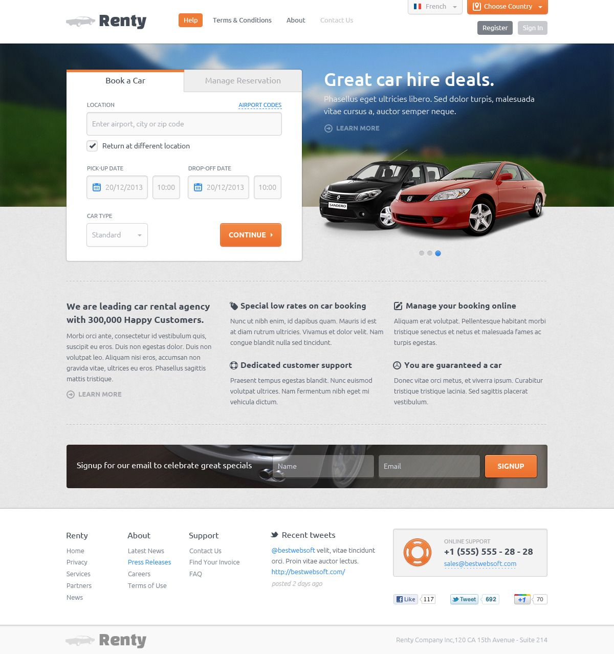 Renty Car Rental Booking Psd Template
