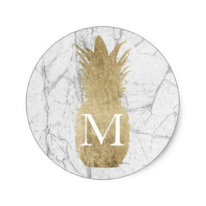 Monogram gold tropical pineapple white marble classic round sticker monogram gifts unique custom diy personalize