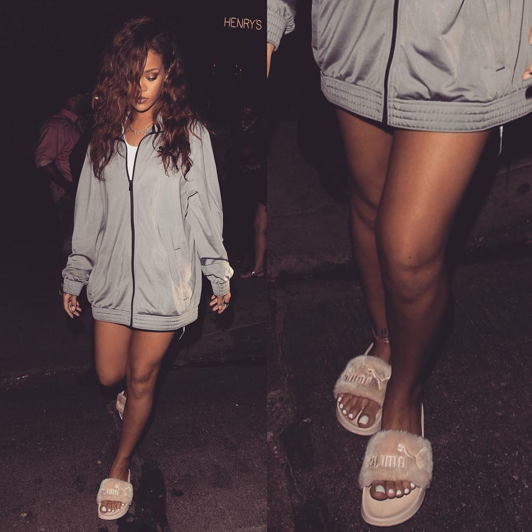 rihanna wearing puma slippers