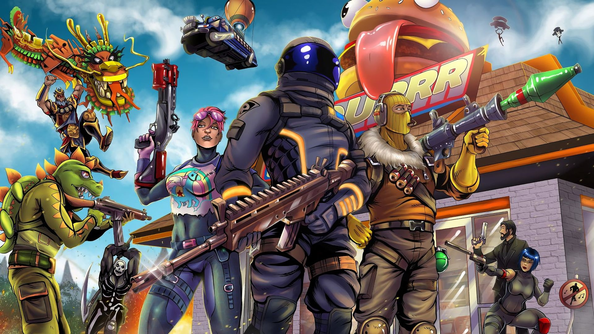 1920x1080 Hd Wallpaper Of Fortnite Battle Royale Video Game Art Dark
