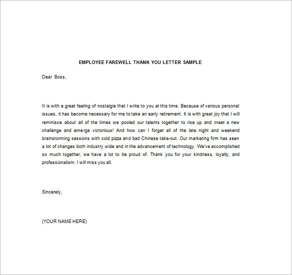 Thank You Note Boss Free Word Excel Pdf Format Download Letter For