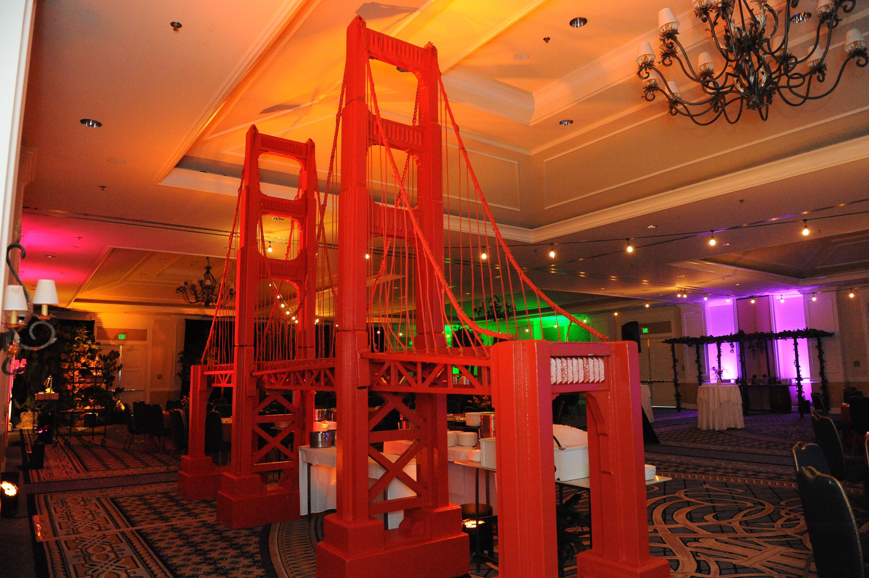 Event planning: Golden Gate bridge backdrop, food stations, Golden State theme #California #Ritzcarltonhalfmoonbay Decor arranged by: Creative Impact Group, Chicago IL