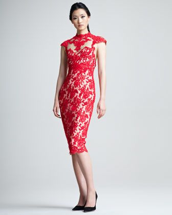 539d9c2298ee Marchesa Lace Cocktail Dress - Neiman Marcus | What the Wardrobe ...