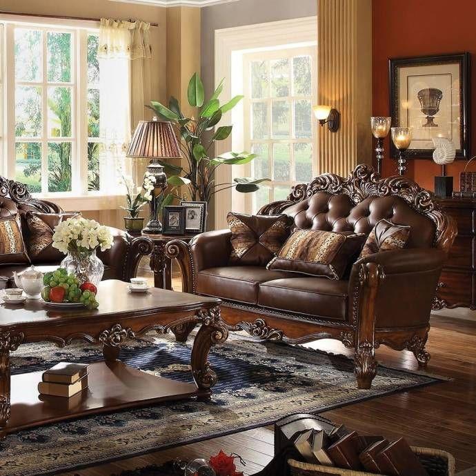 Best Cherry Carved Wood Sofa Set 5Pcs Vendome 52001 Acme 400 x 300