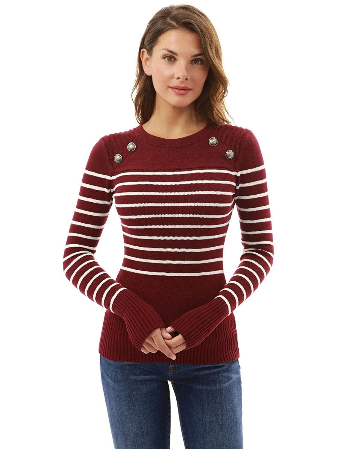 56ed8bdcc5 PattyBoutik Women Crewneck Trim Ribbed Sweater #Pullovers, #Sweaters,  #Clothing, #Women, #Clothing, Shoes & Jewelry, | Like Product | Winter  sweater outfits ...
