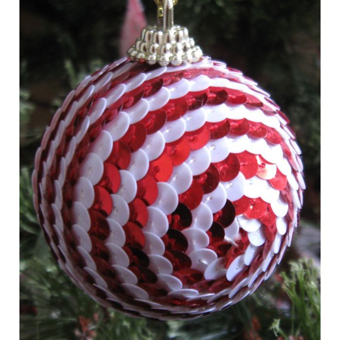 New Dept 56 Round Red & White Sequin Ornament Listing In