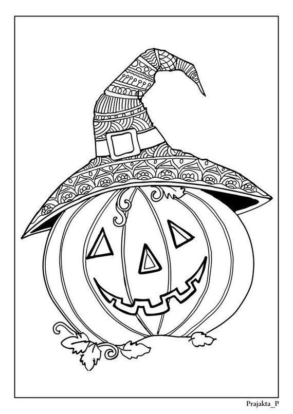 Halloween coloring pages cute pumpkin, zentangle pumpkin