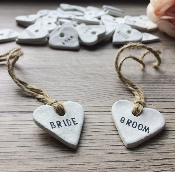 Items similar to 100 Personalised Clay Ceramic Heart Place, Favour/Favor Tags – Rustic, Vintage, Shabby Chic, Country Wedding Decor, Table Decoration on Etsy