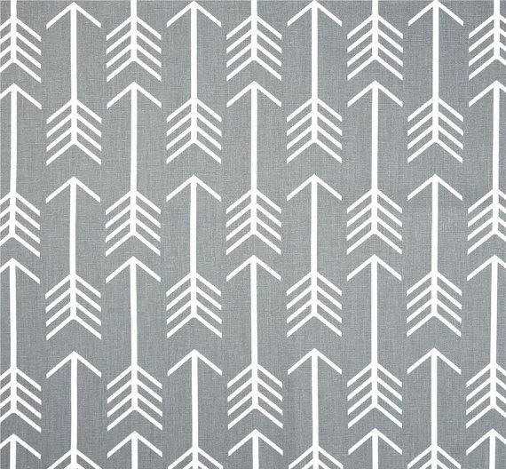 Grey Arrow Fabric By The Yard, Cotton Home Décor Fabric, Drapery Or  Upholstery Yardage