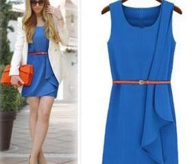 Fashion Solid Color Sleeveless Irregular Hem Dress