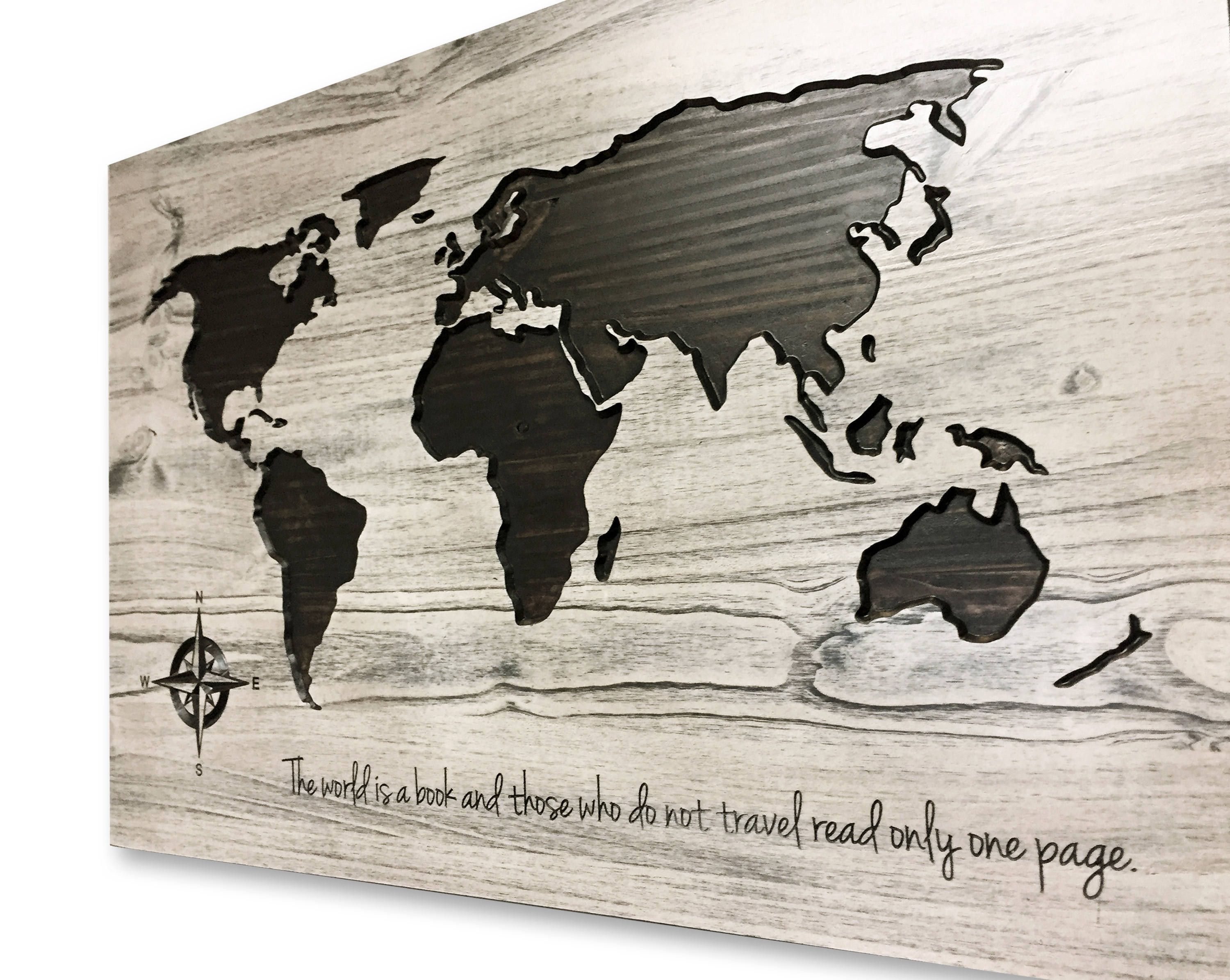 The World Is A Book Quote Custom Quote Sign World Map Wall Art