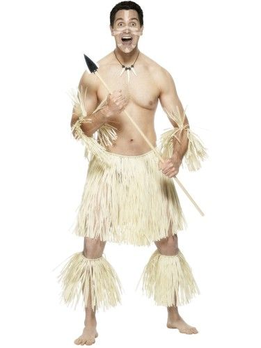 Zulu Warrior Mens Fancy Dress Tropital Hawaiian Tribe Adults Costume Outfit New