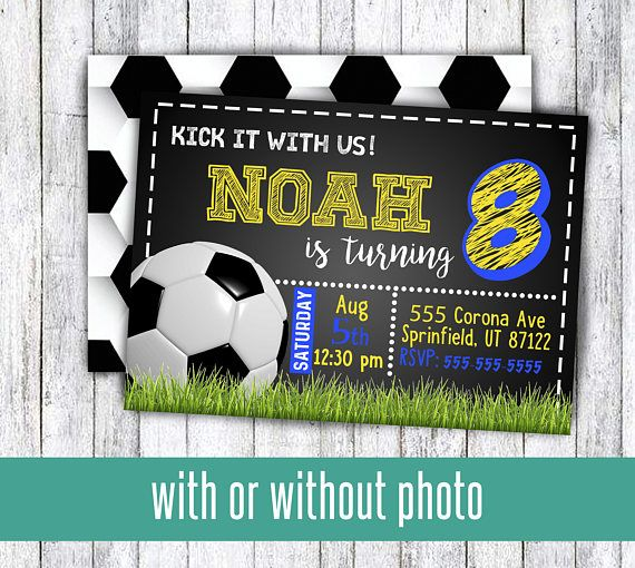 Soccer birthday party invitations for boy or girl kick it with us for any age birthday pro