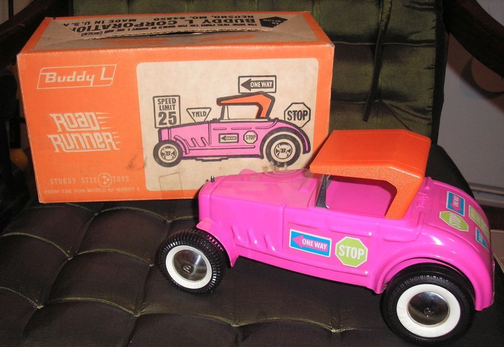 ORIGINAL BUDDY L PINK ROAD RUNNER FORD ROADSTER w/ BOX #5203 PRESSED STEEL #BuddyL #Ford
