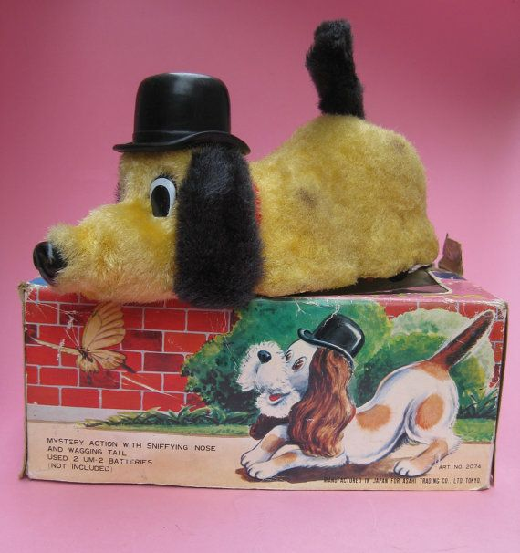 Sniffy Dog Vintage Battery Operated Toy Hound By Aquamarinedream