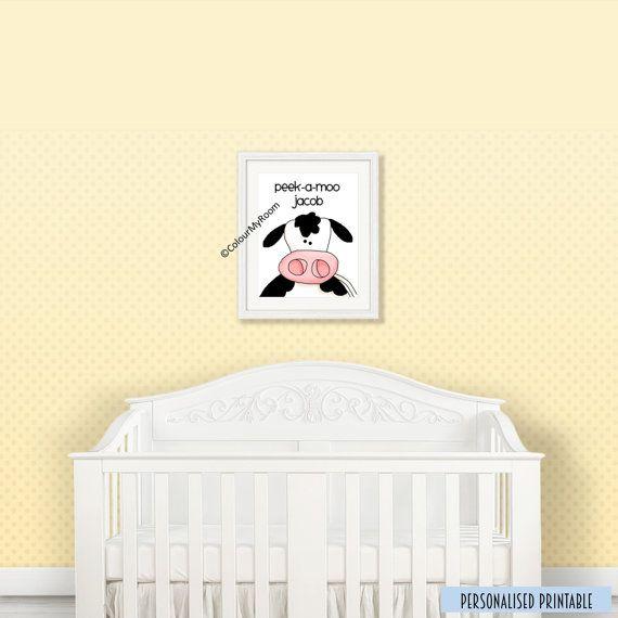 PEEK A MOO COW Personalised 8x10 Printable Baby by ColourMyRoom