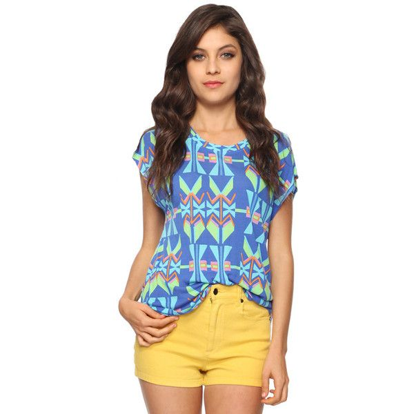 Relaxed Geo Print Top via Polyvore