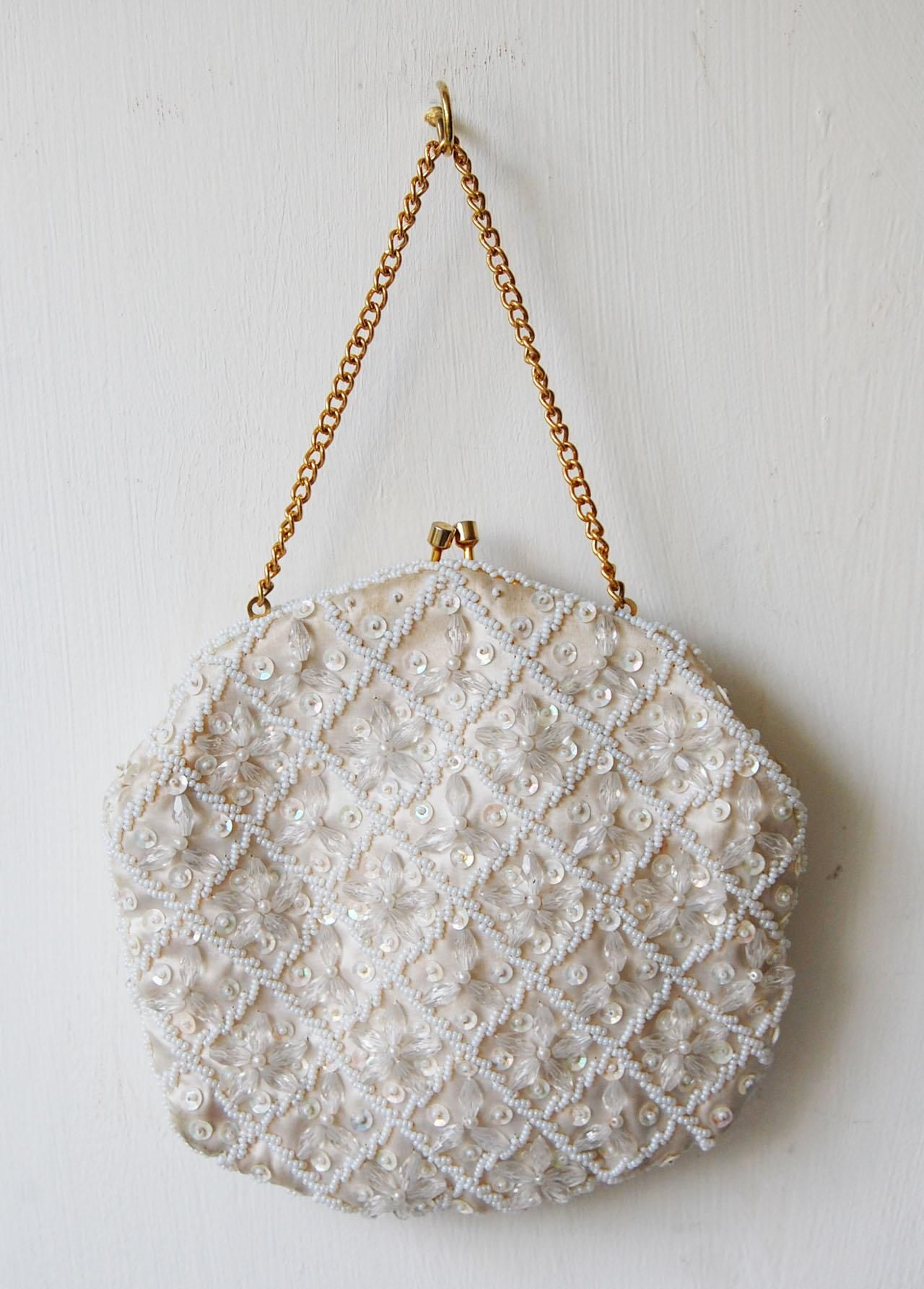 b9c3a5bea8 Vintage Beaded Evening Bags   Home / Off white vintage 60's beaded evening  bag