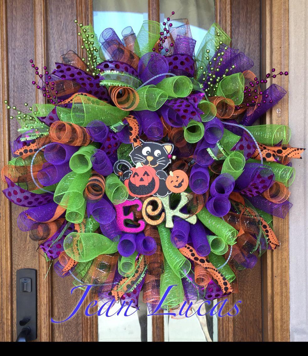 Halloween curly deco mesh wreath Deco mesh wreaths