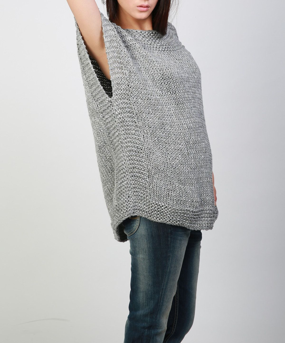 Hand knit Tunic sweater grey eco cotton woman sweater vest | Grey ...