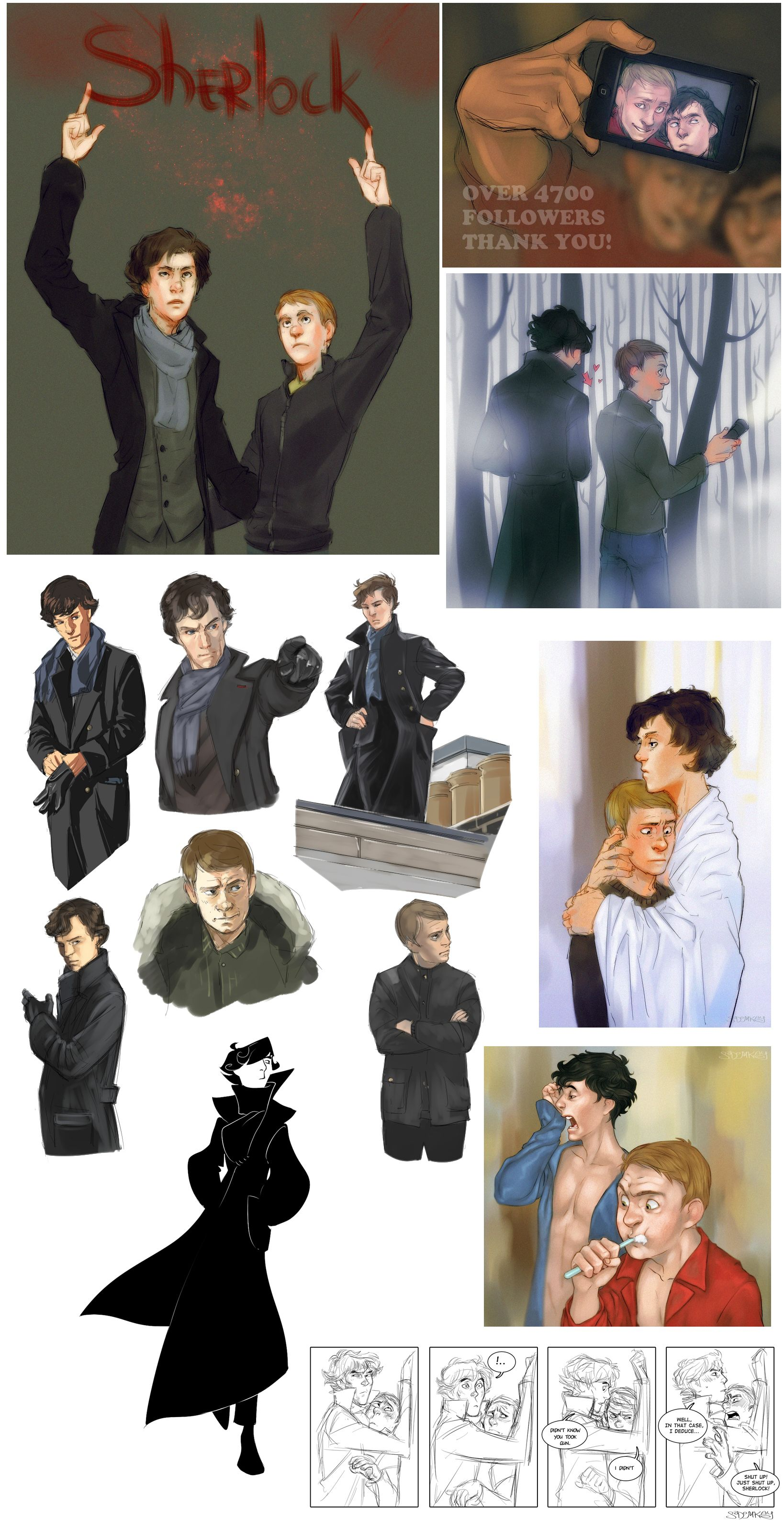 that crazy nouveau sherlock at the bottom is the best! Sherlock BBC art by MisterKay