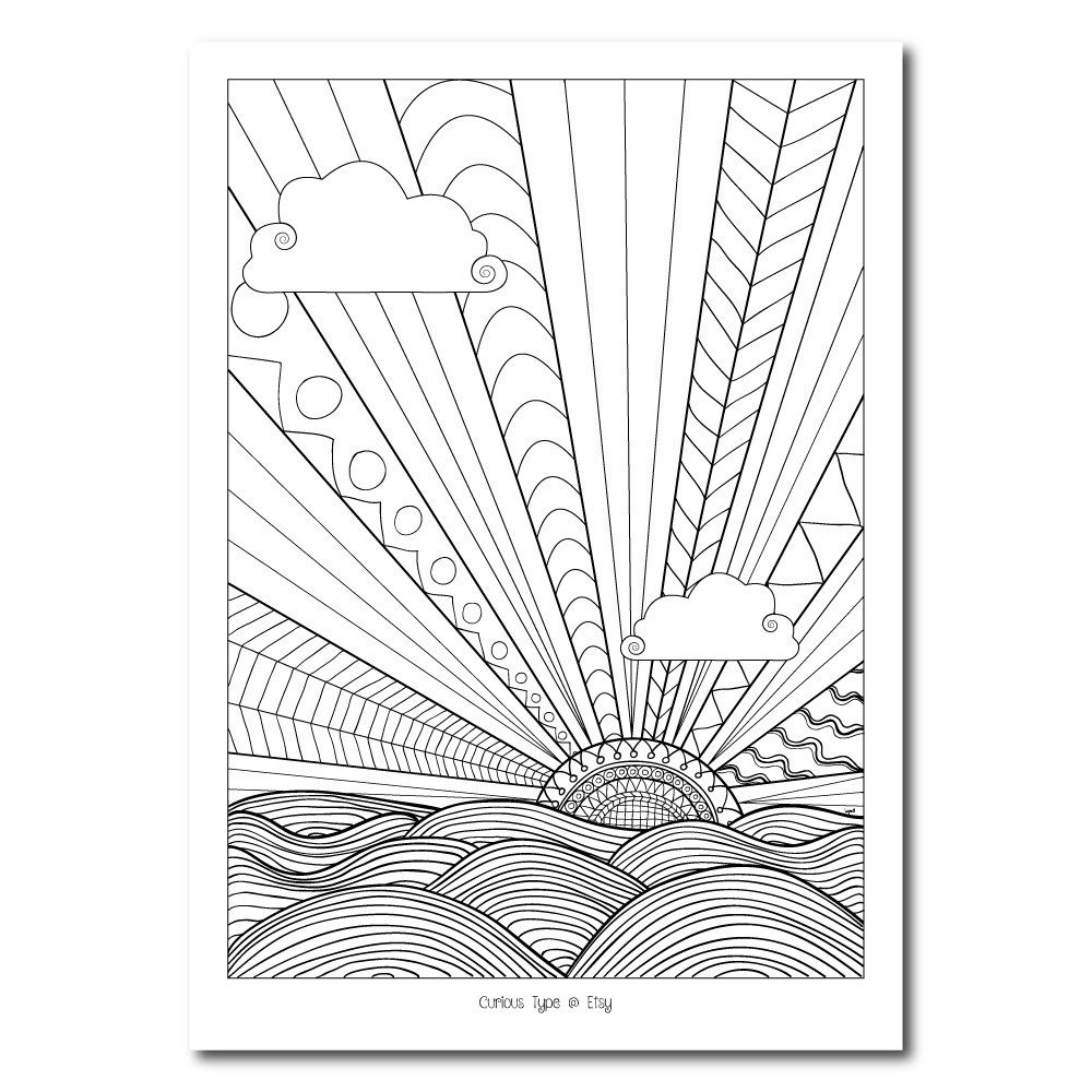 Colouring Page Sunburst Vector Pdf File Etsy Coloring Pages Vector Pdf Illustrator Cs6