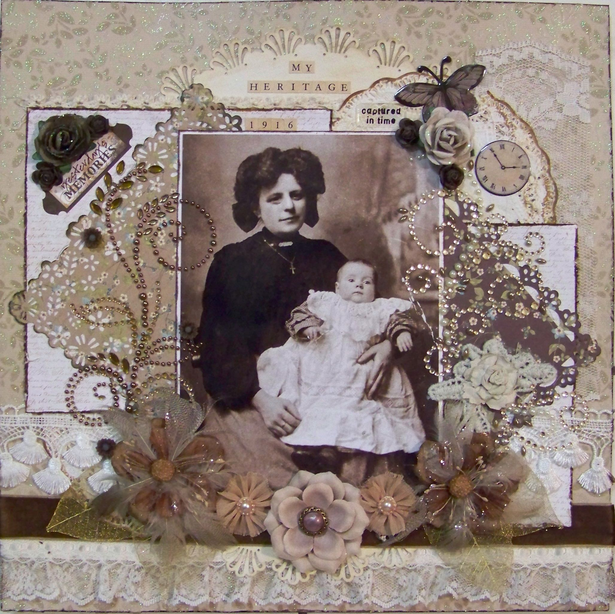 Vintage style scrapbook ideas - My Heritage Scrapbook Com Love This Heritage Page She Includes