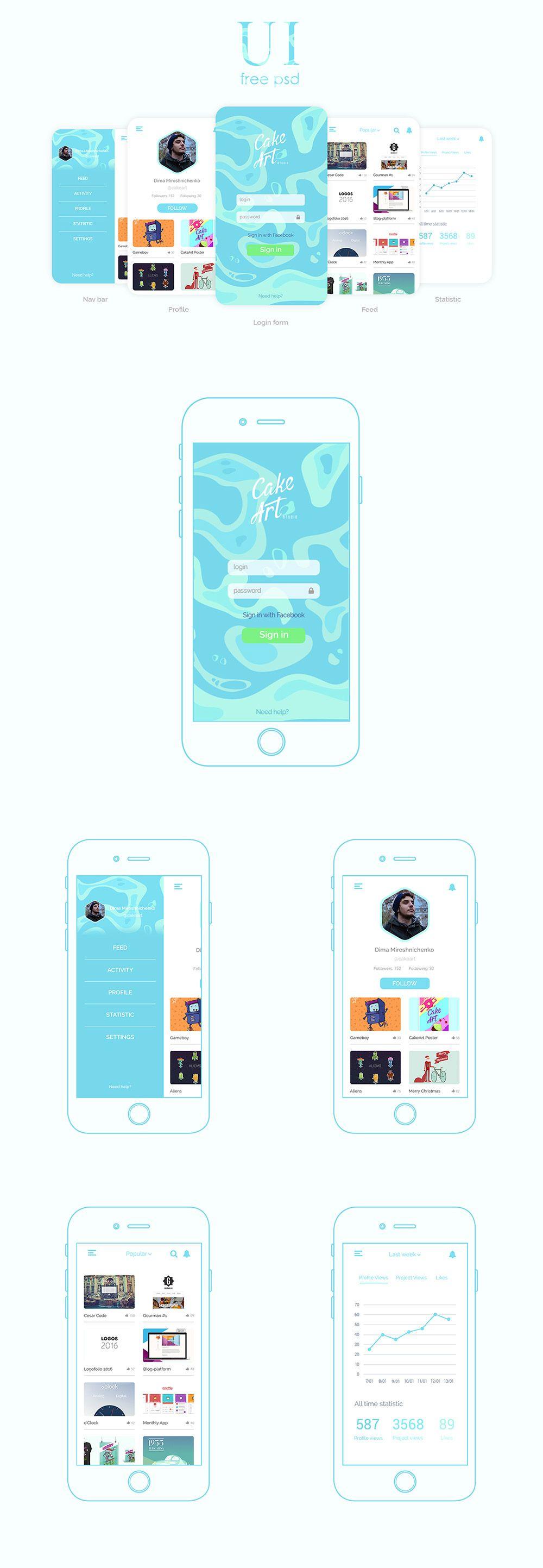 Cool Elegant Social Mobile App Design Templates Free PSD. Download ...