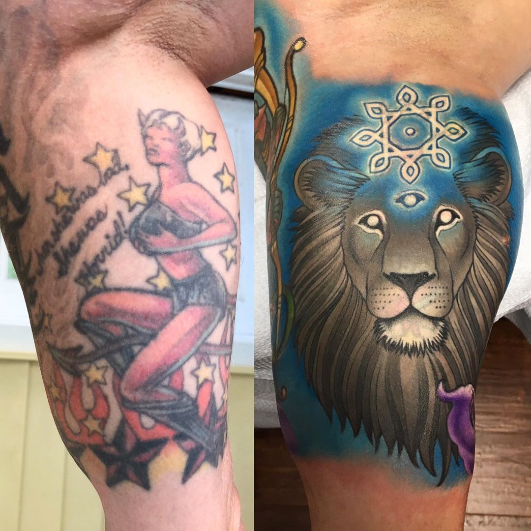Lion head cover up tattoo by the world's best coverup