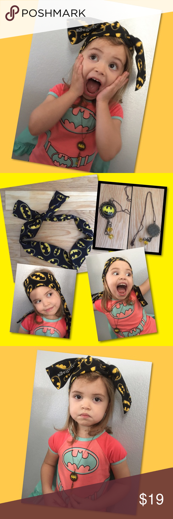 """Batman Set Declare your favorite Gotham City Superhero with style. A 43"""" length Headband, hair tie, arm band, pony tail etc. A trendy additive to simply tie on and go! You'll love it. Matching 9"""" drop necklace with a 1"""" batman emblem, that dangles at 2"""". Bruce Wayne approved. """"It's not who I am underneath, but what I do that defines me"""" Bruce Wayne. Set can be for child, tween, teen or adult! Accessories Hair Accessories"""