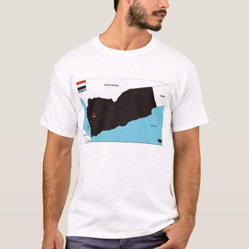 3afe7138a yemen country political black map flag T-Shirt | Zazzle.com in 2019 ...
