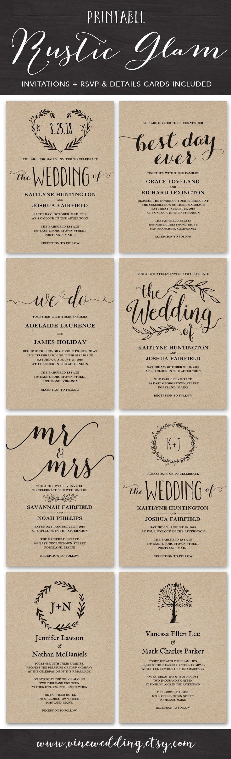 sample of wedding invitation letter%0A Vintage Wedding Invitation  Rustic Wedding invitation Set  Printable Wedding  Invitation  Kraft Wedding Invitation Set  Editable Text  VW     Diy wedding