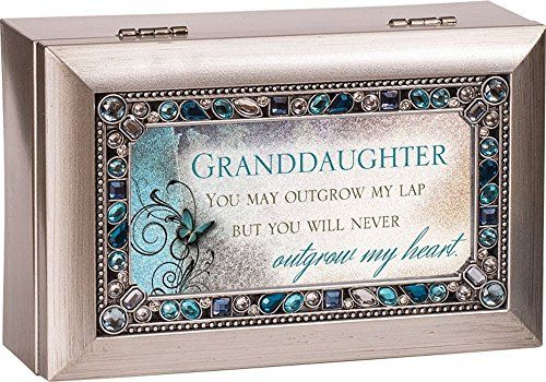 Granddaughter Jewelry Box Delectable Granddaughter Jeweled Silver Finish Jewelry Music Box  Plays Tune