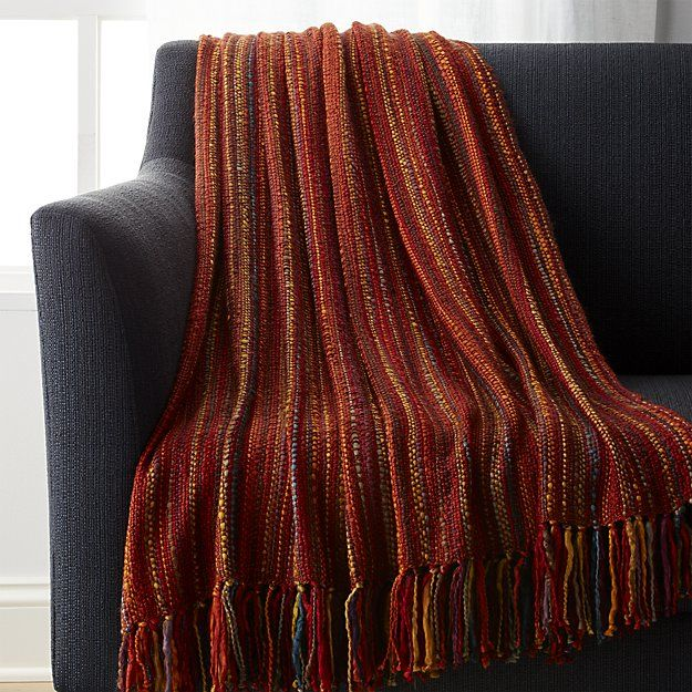 Shelby Rust Orange Striped Throw Striped Throw Woven Throw Blanket Crate And Barrel