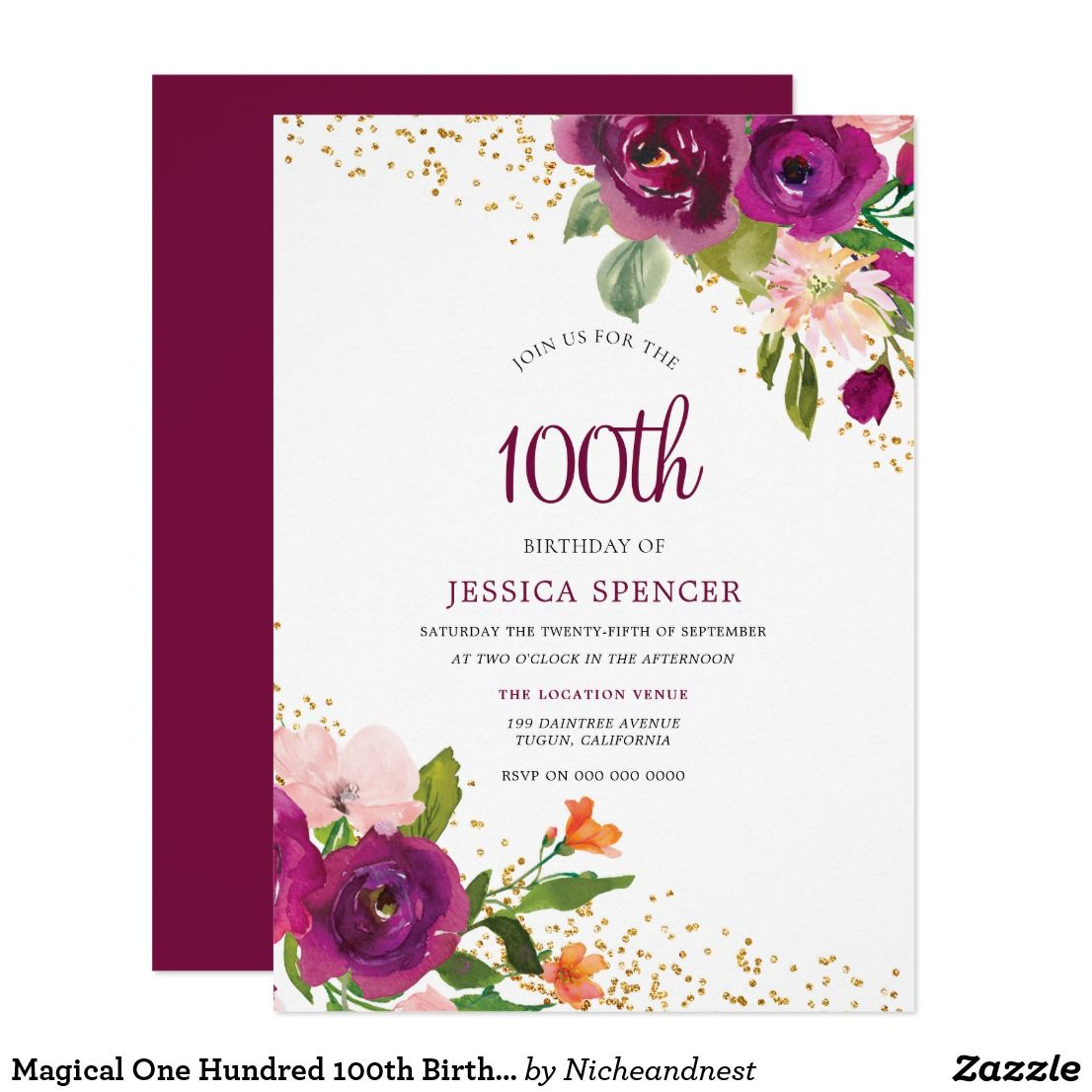 Magical One Hundred 100th Birthday Invite Affiliate Ad Link Custom Party Invitations Invites Birthdayparty