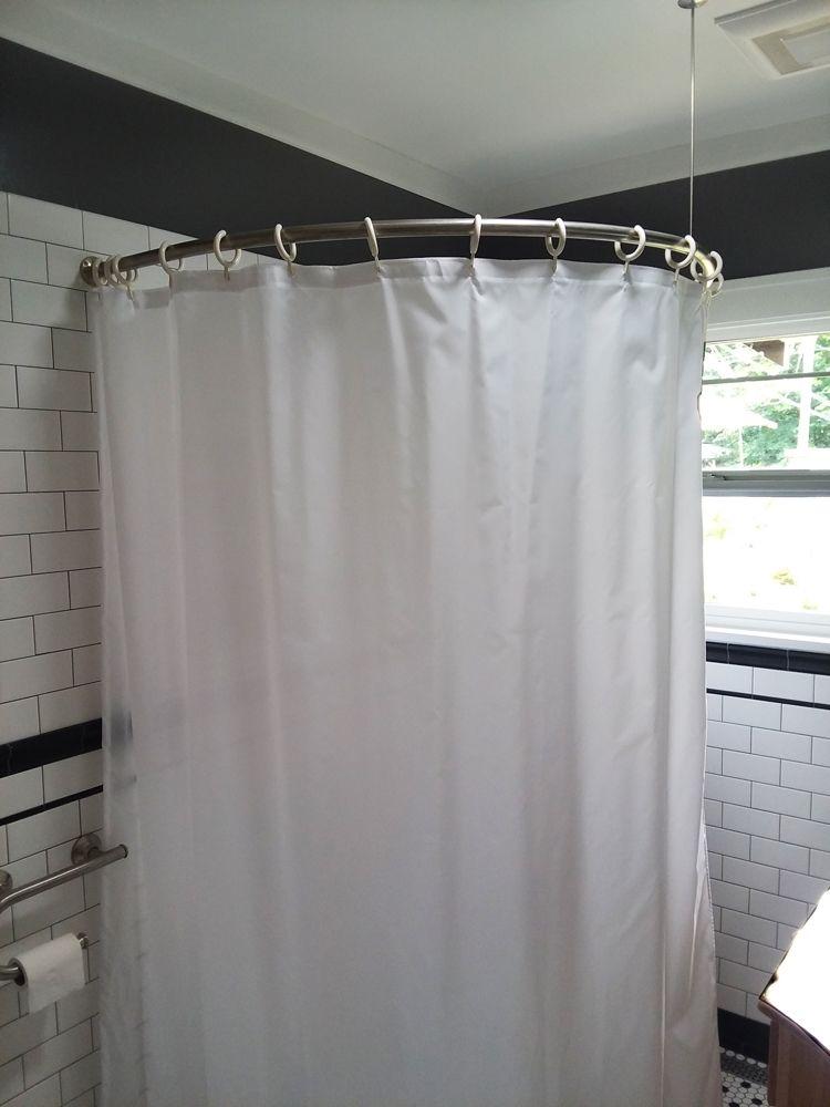 half oval shower rod shower curtain