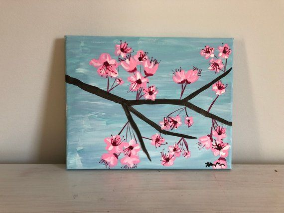 How To Paint Cherry Blossoms Simple Easy Cherry Blossom Abstract Painting Demonstration Bud Nature Art Painting Painting Art Lesson Diy Canvas Art Painting